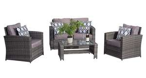 YAKOE 4-Piece Rattan Garden Furniture Sofa Set Table and Chairs - Grey for £199.99 (Brown £202.49) Delivered @ Amazon UK
