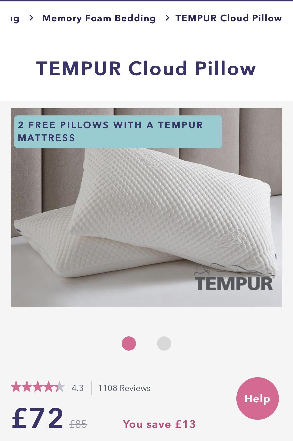 Tempur pillows at Dreams for £72
