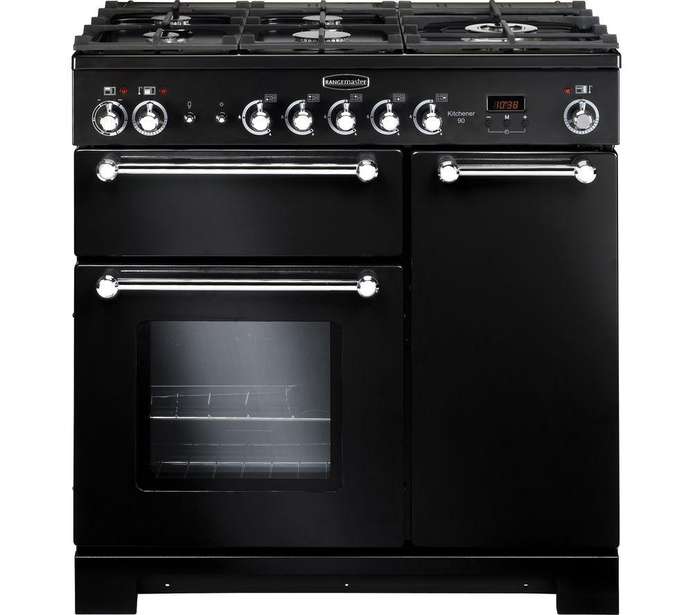 RANGEMASTER Kitchener KCH90DFFBL/C Dual Fuel Range Cooker - Black & Chrome For £899.10 with code @ Currys