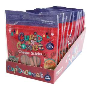 Cupid & Comet Rosewood Christmas Individually Sealed Packets For Cats 40 g Cheese Sticks Pack of 12 @ Amazon Add On £2.45