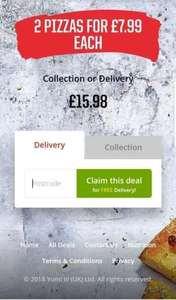 2 Large Pizzas for £15.98 @ Pizza Hut Delivered