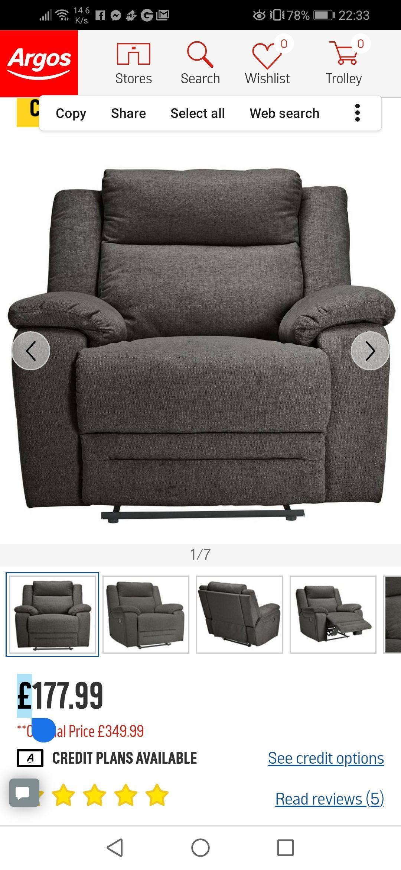Argos Home Blake Fabric Manual Recliner Chair - Grey £178.00 @ Argos *Clearance*