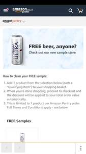 Free beer sample from Amazon pantry - account specific and adds to your order