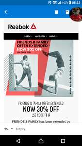 Reebok 30% Extended using code plus use tbc for 6.3%