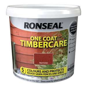 2 X Ronseal One Coat Timbercare - Red Cedar or Dark Oak 5L £8 instore @ B&M