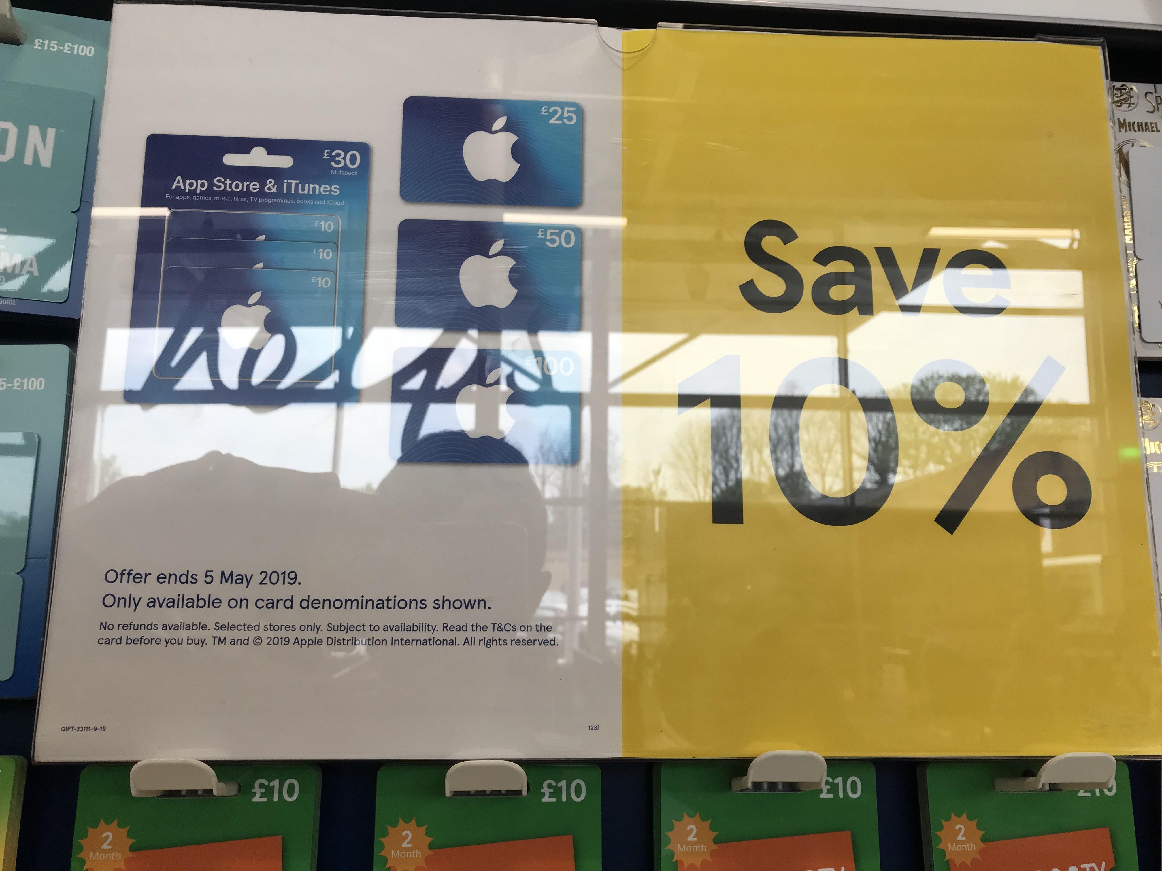 10% off iTunes / App Store vouchers in Tesco instore