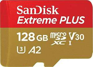 Wow: SanDisk Extreme PLUS 128 GB microSDXC Memory Card + SD Adapter, A2 up to 170 MB/s, Class 10, U3, V30 for £24.99 Delivered @ Amazon UK