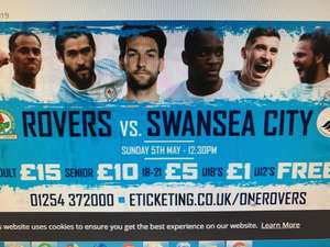 Blackburn Rovers vs Swansea City 5th May: Children under 18 only £1 with adult paying £10