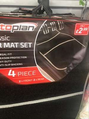 4 Piece Car Mat Set @ Poundstretcher Instore (Great Yarmouth Town Centre) £2.99