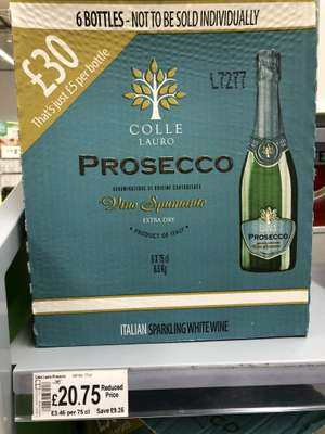 Case of 6 bottles Colle Lauro prosecco £20.75 in store at Asda at ~£3.46 bottle