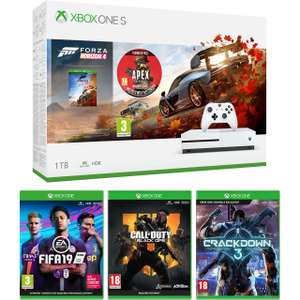 1TBXbox One S + Forza Horizon 4 / FIFA 19 / Black Ops 4 / Crackdown 3 & Apex Legends Pack £249 @ AO  [1m Game pass / 14 day Gold trial]