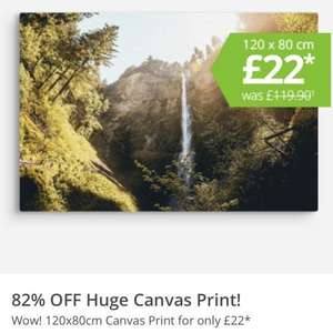 82% OFF Huge 120x80cm Canvas Print for only £22 + £5 p&p @ my-picture.co.uk