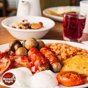 Adult Unlimited Breakfast + 2 kids (under 16) eat FREE £9.50 - Inc Bacon, Eggs, Cereal, Pastries, Costa Coffee & much more @ Brewers Fayre
