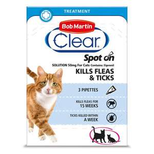 (Single Pack (3 Pipettes)) Bob Martin Clear Spot On Cat Fipronil Flea & Tick Treatment £6.99 at Onbuy (Buy4Pets)