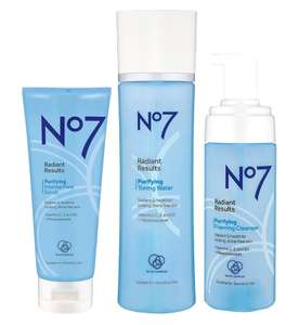 No7 Radiant Results Purifying Cleansing Trio, 3 for 2, 9 products = £3,33 each