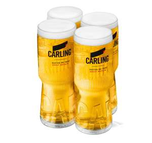 Free new Carling glass with £3.60 promotional can pack - available at most major retailers. (Tesco in Hook)