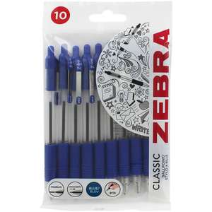 Zebra Z Grip 1.0 mm Ballpoint Pen - Blue (Pack of 10) £1.50 free delivery for Prime Members @ Amazon / £2.49 non Prime