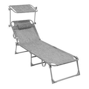 Sun Lounger with Sunshade + Removable pillow in Light Grey - max user weight 250kg £29.89 Del with code - Sold by Songmics / FBA