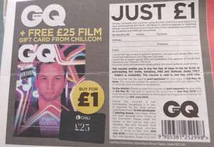Free £25 Chili.com Rental Voucher with £1 purchase of GQ mag. Voucher in Metro newspaper