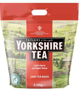 Yorkshire Tea 3.25kg (1040)  - prime s&s £16.57 using 10% off / £19.50  (Prime) / £23.99 (non Prime) at Amazon