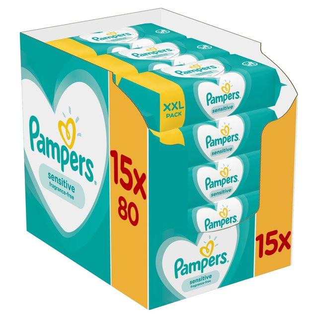 Pampers Sensitive Baby Wipes 15 x 80 per pack @ Ocado £10