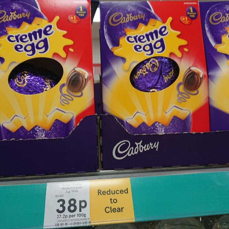 Cadburys Creme Egg Easter egg Reduced to 38p Tesco.