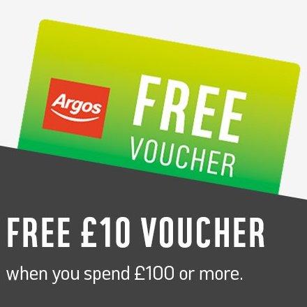 Free £5 voucher when you spend £50+ / £10 voucher when you spend £100+ at Argos