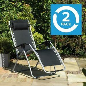 Set of 2 GRAVITY CHAIRS RECLINING SUN LOUNGERS £45.04 ebay /  wido-uk