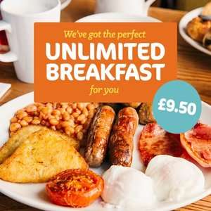 Adult Unlimited Breakfast + 2 kids (under 16) eat FREE £9.50 / £3.17pp - Incl. Costa Coffee, Bacon, Eggs, Cereal, Pastries @ Beefeater
