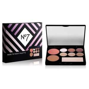 Free Nude to Night Palette wys £25 on No7 Cosmetics & Brushes + 3 for 2 + £7 worth of Points on a £40 spend on No7 @ Boots
