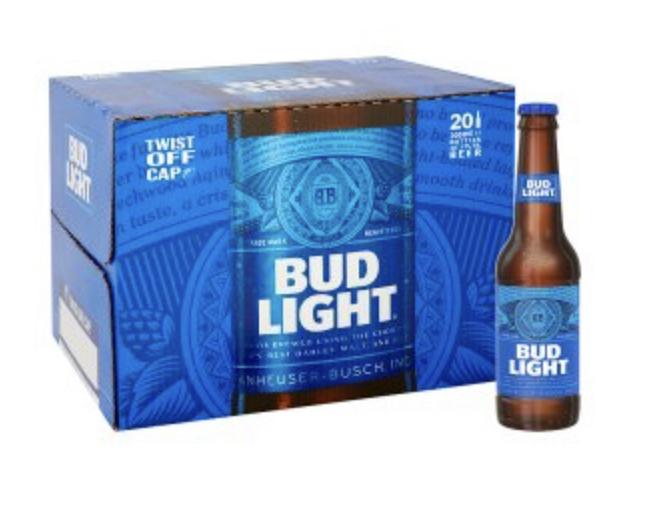 20 x 300ml bottles of Bud Light Lager Beer £10 in Asda