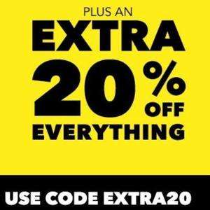 20% off everything at Harvey's with code EXTRA20 and 8% cashback from quidco