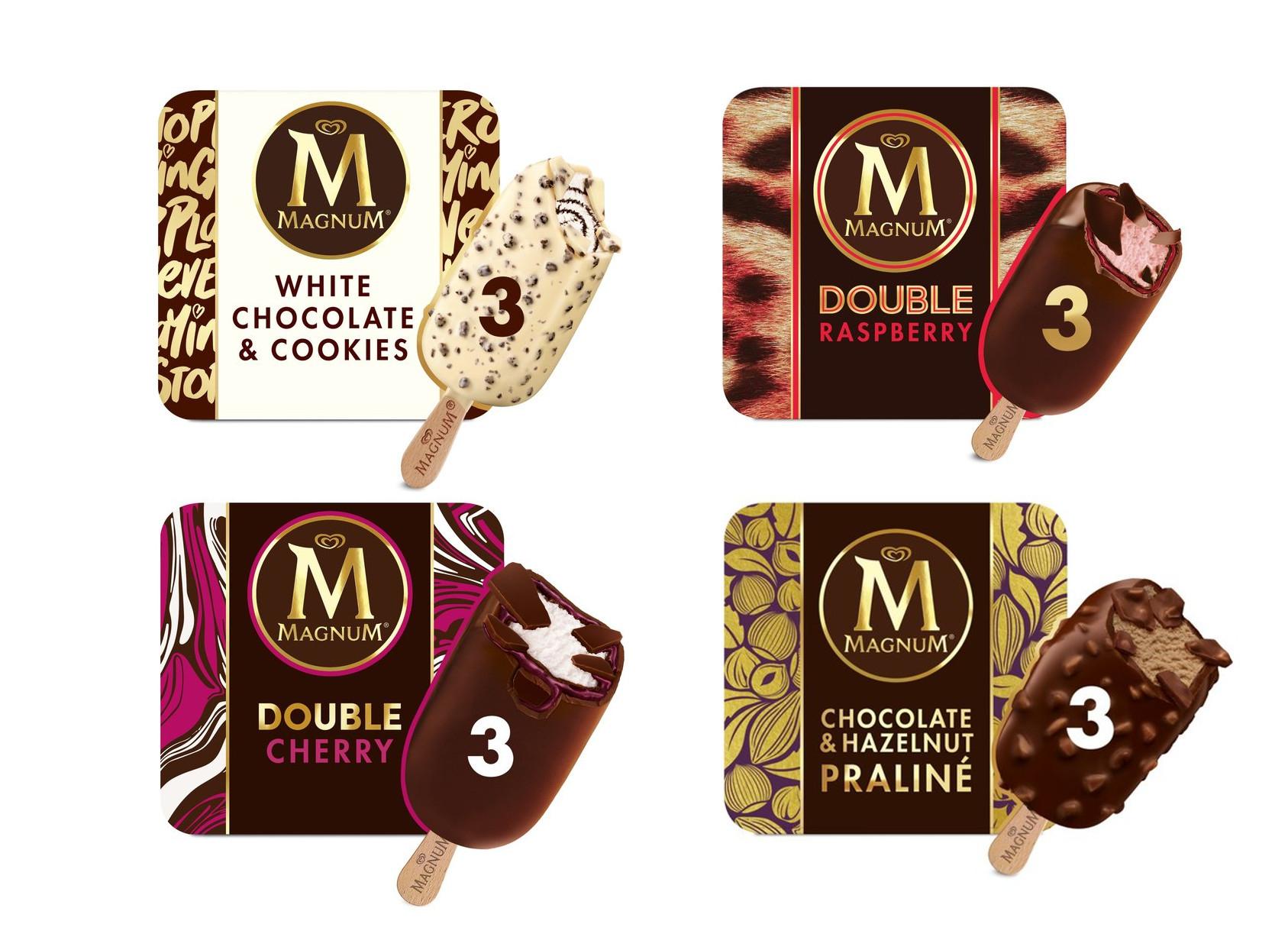 Magnum Double Raspberry / Double Cherry / White Chocolate & Cookies / Chocolate & Hazelnut Praline Ice-cream Pack of 3 - £1.75 @ Sainsburys