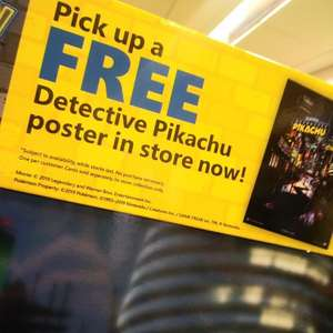 Free Detective Pikachu Poster from GAME instore (No purchase required)