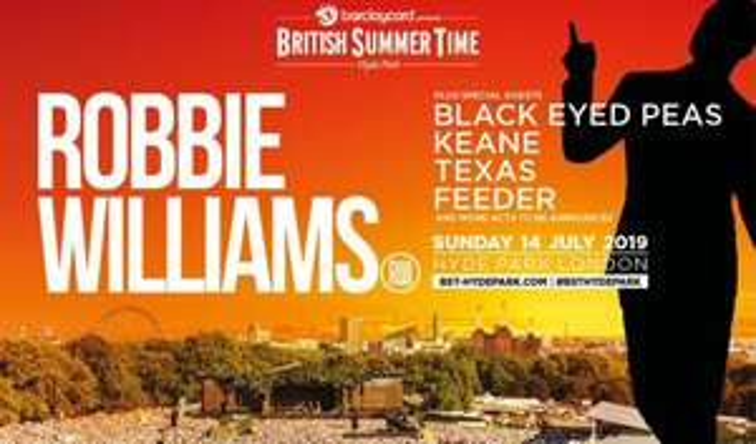 Robbie Williams British Summer Time Festival - July 14th - Inc. Feeder, Black Eyed Peas & Texas £55.96 @ Groupon