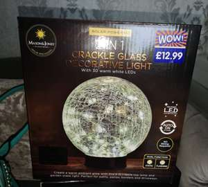 B&M 2 in 1 Crackle Glass Decorative Light Solar Powered with 30 warm white LED lights - £5 instore