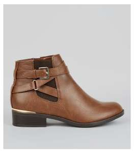 Girls Tan trim Ankle Boots £5 New Look (£3.99 Postage or Free with Delivery Pass)