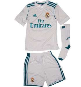 705dd132e adidas Junior Boys RMCF Real Madrid Home Mini Kit White Vivid Teal £29.98  delivered