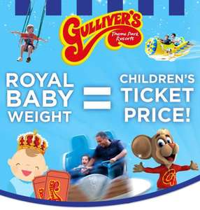 Childs entry for £7.03 (Royal baby weight) instead of £18 with code. Book by 9th May use between 11th May - 2nd June @ Gullivers Fun