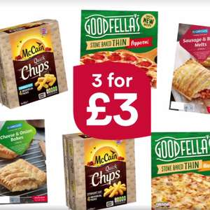 Greggs Pasties + Goodfella's pizza + McCain chips = £3 (Any 3 for £3) @ Iceland