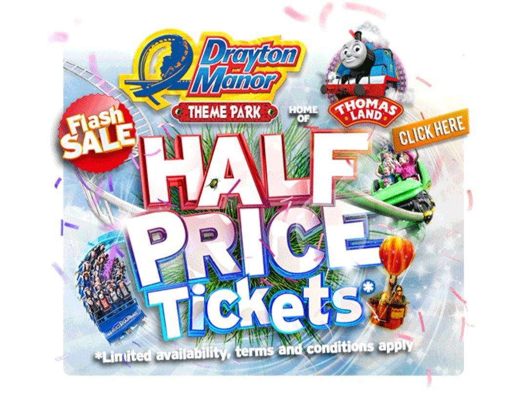 Drayton Manor half price tickets £19.50