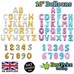 14x 16 inch letter or number foil balloons - £3.96 @ eBay / bestprice_trading