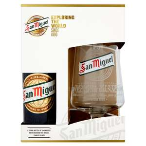 San Miguel branded glass and 330ml bottle gift pack was £5 now £3.50 @ Morrisons