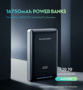 RAVPower 16750mAh Power Bank (Black) £23.99 (£19.19 with code) and FREE Delivery @ Sold by Sunvalleytek-UK and Fulfilled by Amazon.