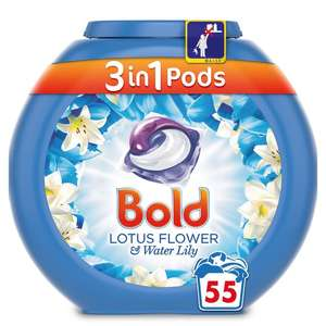 Bold 3in1 Pods Washing Capsules Lotus Flower & White Lily 55 per pack - £9 @ Ocado