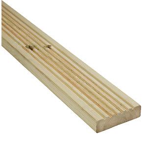 Wickes Premium Deck Board / decking (Longest length) 28mm X 140mm X 4.8m pressure treated, 10 year guarantee & FSC certified £12 @ Wickes