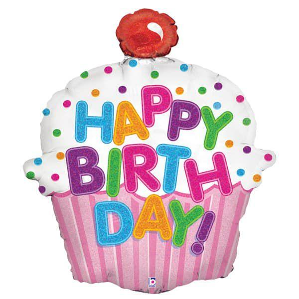 Happy birthday XL Cupcake Helium Foil Balloon 83x73cm - 60p @ Asda Living