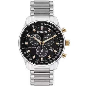 Citizen Eco-Drive Men's Stainless Steel Black Dial Watch Model number: AT2396-86E - £109.99 @ H Samuel