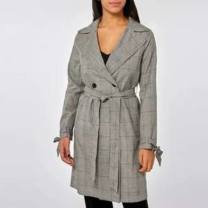 Dorothy Perkins Grey Check Button Front Mac, Sizes 8-14, Was £45 - Now £12 Free delivery with code @ Debenhams