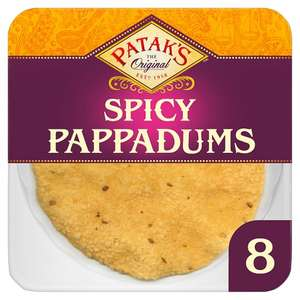 Half Price Pataks Spiced Ready To Eat Pappadums 8 Pack £1 @ Tesco
